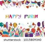 happy purim background. purim...   Shutterstock .eps vector #1015809340