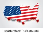 3d Vector Flag Map Of The Usa ...