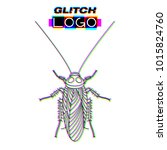 glitch effect cockroach logo.... | Shutterstock .eps vector #1015824760