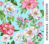 rosehips watercolor seamless... | Shutterstock . vector #1015834540