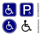 disabled handicap sign set | Shutterstock .eps vector #1015840309