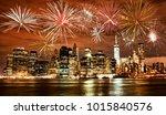 fireworks over new york city...   Shutterstock . vector #1015840576