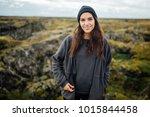 smiling nordic woman enjoying... | Shutterstock . vector #1015844458