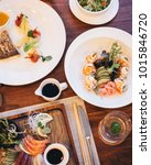sushi  sashimi and grilled fish ... | Shutterstock . vector #1015846720