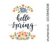 vector hello spring greeting...   Shutterstock .eps vector #1015848208
