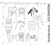 animal cartoon set isolated on... | Shutterstock .eps vector #1015848286