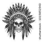 human skull in native american... | Shutterstock .eps vector #1015852543