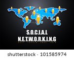 illustration of speech bubble headed human icon connected on social networking background - stock vector