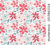 Stock vector cute floral seamless background with simple vintage flowers vector repeat patterns with hand drawn 1015861516