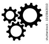 three gear sign simple icon on... | Shutterstock .eps vector #1015863010