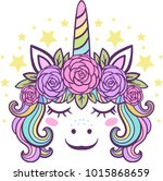cute little unicorn with roses | Shutterstock .eps vector #1015868659