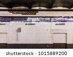 empty subway station platform... | Shutterstock . vector #1015889200