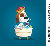 cute elegant dog bathing with... | Shutterstock .eps vector #1015895086