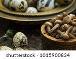 mushroom still life. salted... | Shutterstock . vector #1015900834