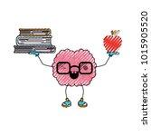 brain cartoon with glasses...   Shutterstock .eps vector #1015905520