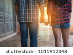 lovers hands together in a... | Shutterstock . vector #1015912348