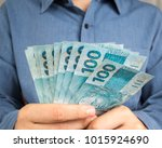 money from brazil. notes of... | Shutterstock . vector #1015924690