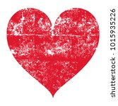 isolated grunge red heart on a... | Shutterstock .eps vector #1015935226