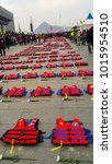 Small photo of December 17, 2016 Seoul Central square South Korean ferry disaster The victim 's family made it. A protest against incompetent government 304 life jackets representing 304 victims