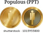 set of physical golden coin... | Shutterstock .eps vector #1015955800