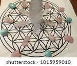 crystal grid on flower of life | Shutterstock . vector #1015959010