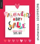 valentines day sale poster with ... | Shutterstock .eps vector #1015959298