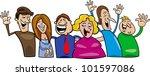 cartoon illustration of hugging ... | Shutterstock . vector #101597086