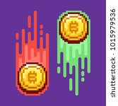 bitcoin. physical bit coin.... | Shutterstock .eps vector #1015979536