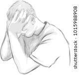 vector art drawing of depressed ... | Shutterstock .eps vector #1015988908