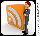 3d man standing beside rss feed ... | Shutterstock . vector #1016009938