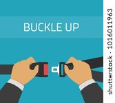 a man fasten buckle of safety... | Shutterstock .eps vector #1016011963