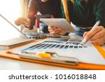 business team meeting present...   Shutterstock . vector #1016018848
