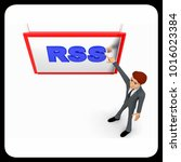 3d man pointing fingure at rss... | Shutterstock . vector #1016023384