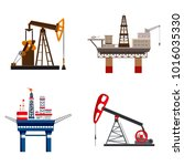 petrol extraction icon set.... | Shutterstock .eps vector #1016035330