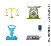 weighing icon set. cartoon set... | Shutterstock .eps vector #1016035354