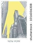 avenue in manhattan  new york... | Shutterstock .eps vector #1016036308