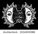 sun broken in two half open and ... | Shutterstock .eps vector #1016043388