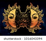 sun broken in two half open and ... | Shutterstock .eps vector #1016043394