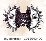 sun broken in two half open and ... | Shutterstock .eps vector #1016043400