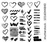 set of chalk vector textures.... | Shutterstock .eps vector #1016044840
