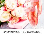 bouquet of white and red roses  ... | Shutterstock . vector #1016060308