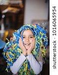 child little girl with... | Shutterstock . vector #1016065954