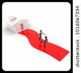 3d one man going towrd house... | Shutterstock . vector #1016067334