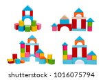 wooden house block | Shutterstock . vector #1016075794