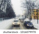 blurred view of winter street... | Shutterstock . vector #1016079970