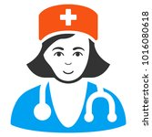 physician lady vector flat icon.... | Shutterstock .eps vector #1016080618