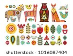 nordic animals and floral folk... | Shutterstock .eps vector #1016087404