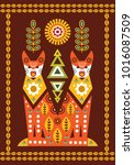 folk card in scandinavian style.... | Shutterstock .eps vector #1016087509