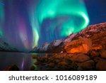 the polar lights in norway  | Shutterstock . vector #1016089189