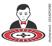 roulette dealer vector flat... | Shutterstock .eps vector #1016092480